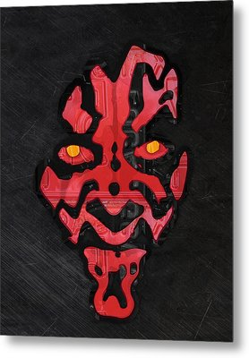Darth Maul Sith Lord Star Wars Recycled Vintage License Plate Fan Art Metal Print by Design Turnpike