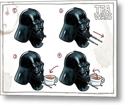Darth Vader Tea Drinking Star Wars Metal Print by Martin Davey