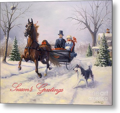 Dashing Through The Snow Metal Print by Jeanne Newton Schoborg