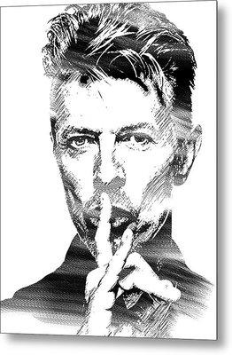 David Bowie Bw Metal Print by Mihaela Pater