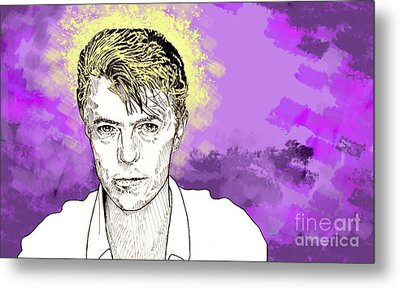Metal Print featuring the drawing David Bowie by Jason Tricktop Matthews