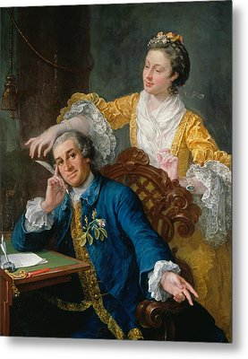 David Garrick With His Wife Eva-maria Veigel Metal Print by William Hogarth
