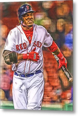 David Ortiz Boston Red Sox Oil Art 3 Metal Print