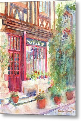 David's Europe 2 - A And C Squire Poterie European Street Scene Watercolor Metal Print by Yevgenia Watts