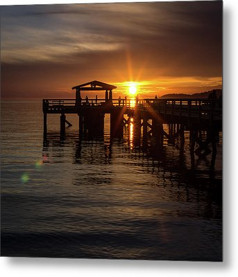 Davis Bay Pier Sunset Metal Print
