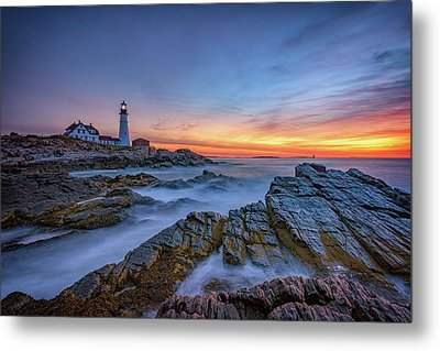 Dawn At Portland Head Lighthouse Metal Print by Rick Berk