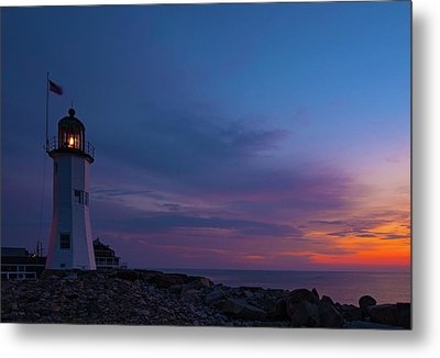 Dawn At Scituate Light Metal Print