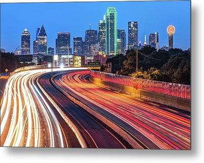 Metal Print featuring the photograph Dawn At The Dallas Skyline - Texas Cityscape by Gregory Ballos