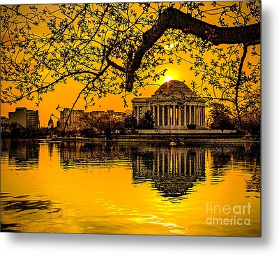 Metal Print featuring the photograph Dawn At The Jefferson Memorial  by Nick Zelinsky