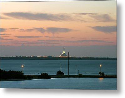 Dawn At The Sunshine Skyway Bridge Viewed From Tierra Verde Florida Metal Print by Mal Bray