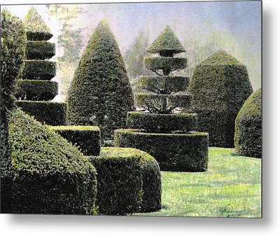 Dawn In A Topiary Garden   Metal Print by Angela Davies