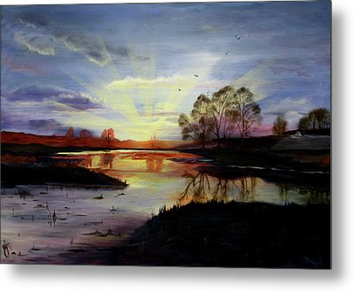 Metal Print featuring the painting Dawn by Jane Autry