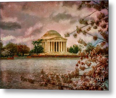Dawn Over The Jefferson Memorial Metal Print by Lois Bryan