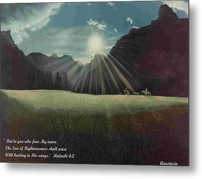 Metal Print featuring the painting Dawn Riders With Verse by Anastasia Savage Ealy