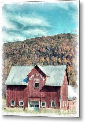 Dawn Till Dusk Farm Watercolor Metal Print by Edward Fielding