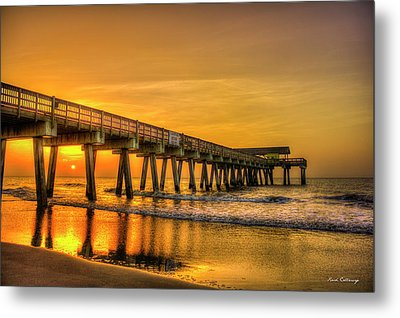 Metal Print featuring the photograph Dawn Under Tybee Island Pier Sunrise Reflections Art by Reid Callaway