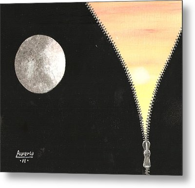 Metal Print featuring the painting Day And Night by Edwin Alverio