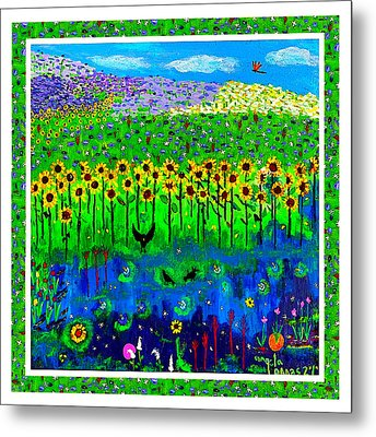 Day And Night In A Sunflower Field With Floral Border Metal Print by Angela Annas