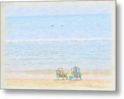 Metal Print featuring the digital art Day At The Beach Sun And Sand by Randy Steele