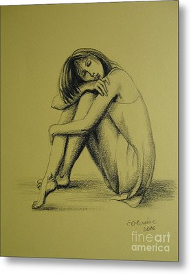 Metal Print featuring the drawing Day Dreaming by Elena Oleniuc
