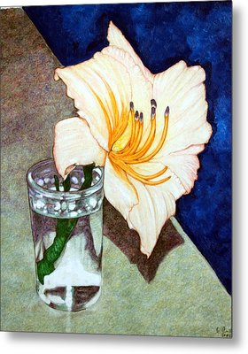 Day Lily In A Water Glass Metal Print by Edward Ruth