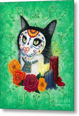 Metal Print featuring the painting Day Of The Dead Cat Candles - Sugar Skull Cat by Carrie Hawks