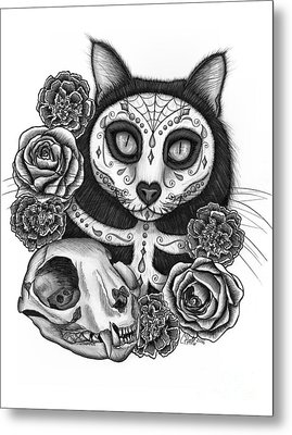 Metal Print featuring the drawing Day Of The Dead Cat Skull - Sugar Skull Cat by Carrie Hawks