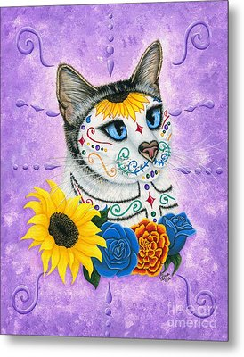 Day Of The Dead Cat Sunflowers - Sugar Skull Cat Metal Print