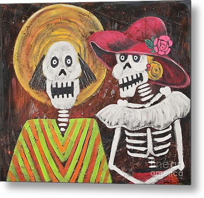 Day Of The Dead Couple Metal Print by Sonia Flores Ruiz