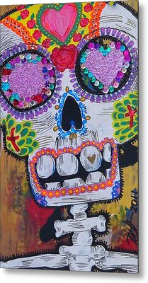 Day Of The Dead Skeleton  Metal Print by Nancy Mitchell