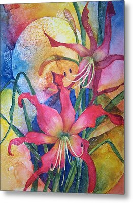 Daylilies In July Metal Print by Sandy Collier