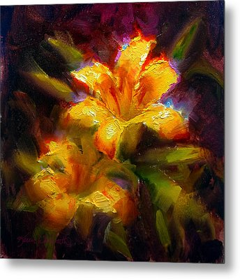 Metal Print featuring the painting Daylily Sunshine - Colorful Tiger Lily/orange Day-lily Floral Still Life  by Karen Whitworth