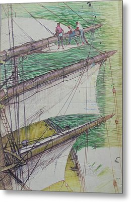 Metal Print featuring the drawing Days Of Sail by Mike Jeffries