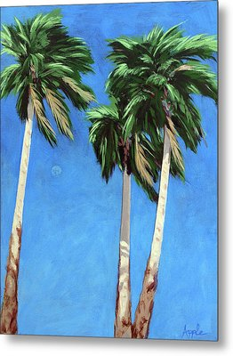 Metal Print featuring the painting Daytime Moon In Palm Springs by Linda Apple