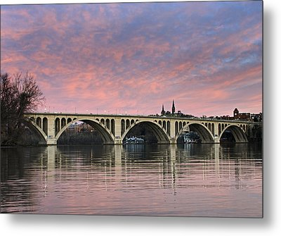 Dc Sunrise Over The Potomac River Metal Print by Brendan Reals