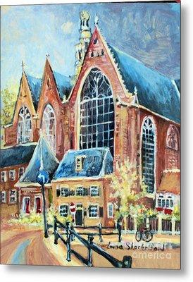 Metal Print featuring the painting De Ode Kerk by Linda Shackelford