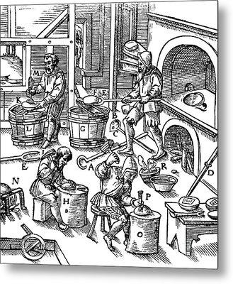 De Re Metallica, Metallurgy Workshop Metal Print by Science Source