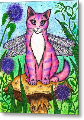 Dea Dragonfly Fairy Cat Metal Print by Carrie Hawks
