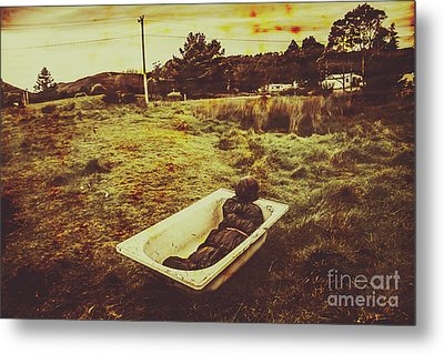 Dead Body Lying In Bath Outside Metal Print by Jorgo Photography - Wall Art Gallery