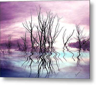 Metal Print featuring the photograph Dead Trees Colored Version by Susan Kinney