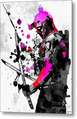 Deadpool Grunge Metal Print