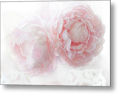 Dreamy Shabby Chic Baby Pink White Pastel Peonies - Romantic Baby Pink Peonies Decor Metal Print by Kathy Fornal