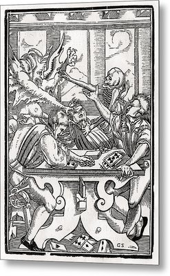 Death And The Devil Come For The Card Metal Print by Vintage Design Pics