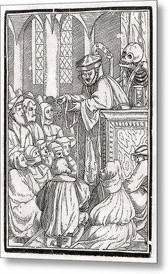 Death Comes For The Preacher Woodcut By Metal Print by Vintage Design Pics