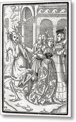Death Comes For The Queen Woodcut By Metal Print by Vintage Design Pics