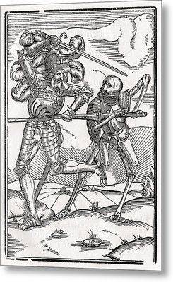 Death Comes To The Knight Or Count Metal Print by Vintage Design Pics
