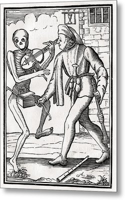 Death Comes To The Musician From Der Metal Print by Vintage Design Pics