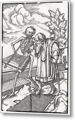 Death Comes To The Old Man Or The Metal Print by Vintage Design Pics