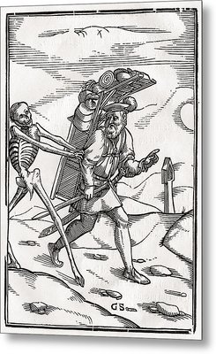 Death Comes To The Pedlar Woodcut By Metal Print by Vintage Design Pics