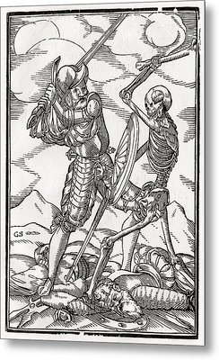 Death Comes To The Soldier Woodcut By Metal Print by Vintage Design Pics